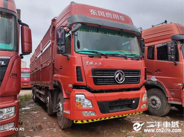 东风 天龙 385马力9.6米前四后八仓栅载货车