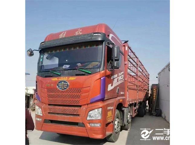 青島解放 JH6 載貨車 JH6重卡 350馬力 8X4 9.5米倉柵式載貨車底盤