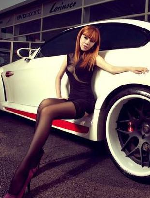 性感丝袜美腿 美女车模和白色宝马