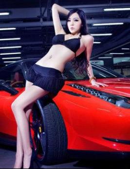 性感诱惑的气质美女车模和红色法拉利