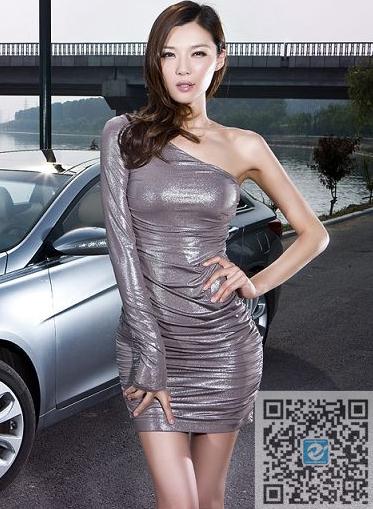 河边摄影 现代汽车和灰衣紧身短裙美女车模