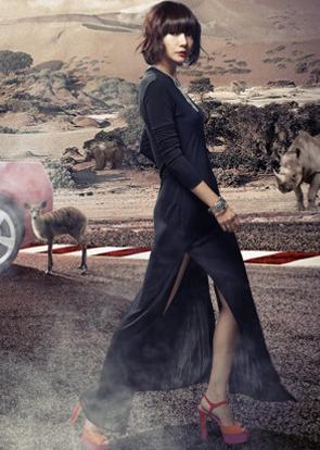 气质都市丽人 红色汽车与黑色纱裙美女车模