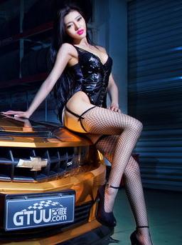 烈焰红唇渔网装 皮衣内衣性感美女车模