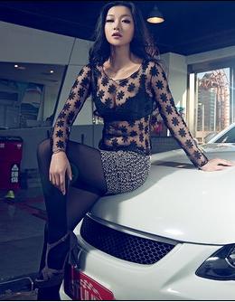 长腿丝袜美女车模分享 蕾丝妖娆美女的诱惑