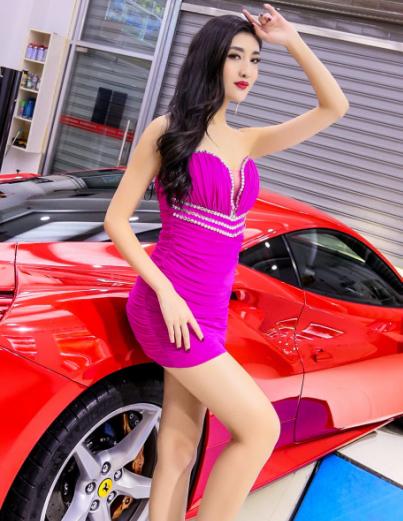 都市风潮美女车模 东方粉色佳人和红色跑车