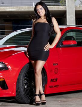 丰满欧美美女车模 红色汽车和黑色短裙