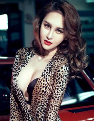 豹纹性感美女车模和红色兰博基尼