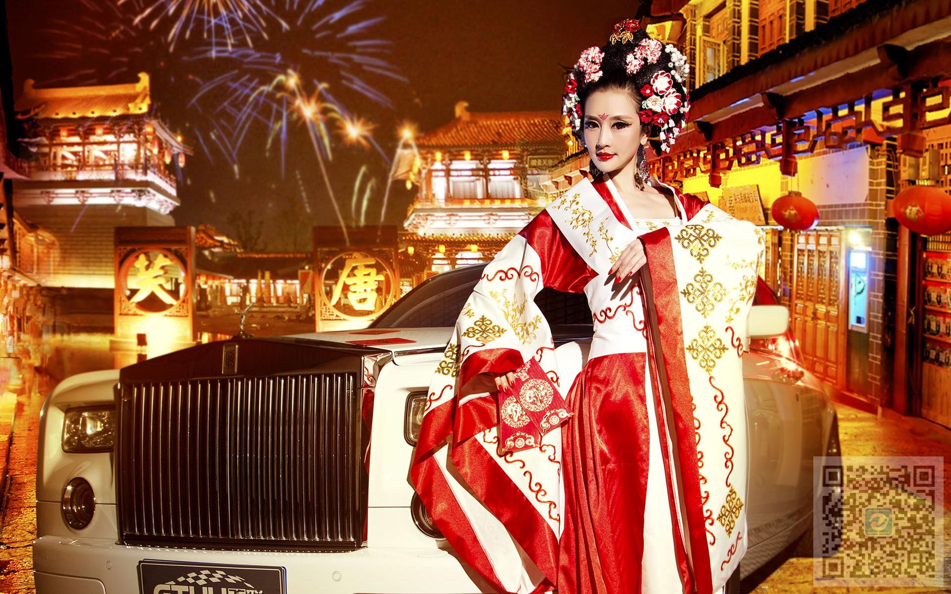 古装东方美女车模和豪车 古与今的华丽视觉冲击