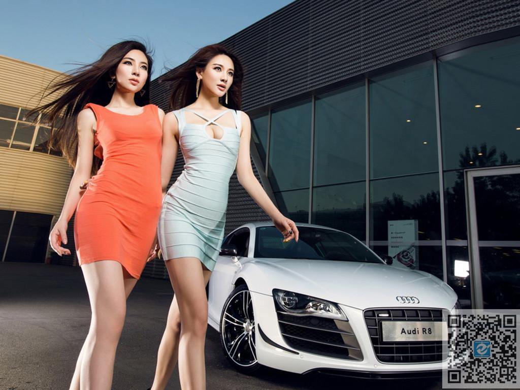 双子气质美女车模 都是丽人风潮美丽大方