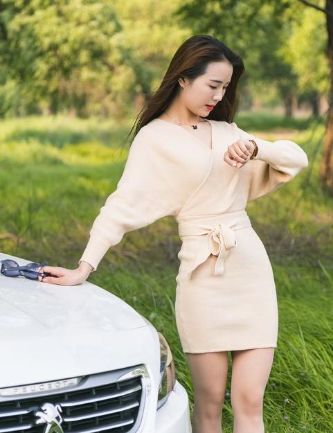标致408抚媚淑女气质美女车模身材