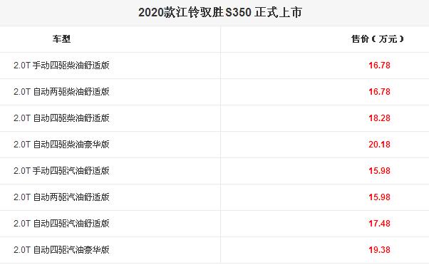 全新江铃驭胜S350亮相 8款汽车新车报价公布