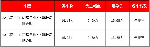 2019款荣威RX5新车降价促销 降价2.5万元马上提车