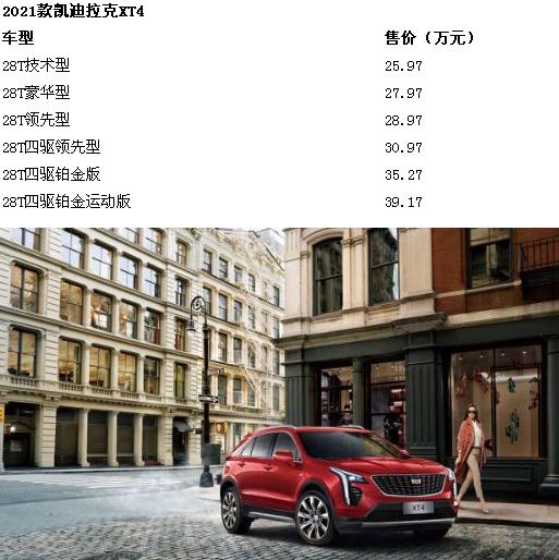《【天富平台手机版】2021款凯迪拉克XT4亮相 新车报价及图片如下》