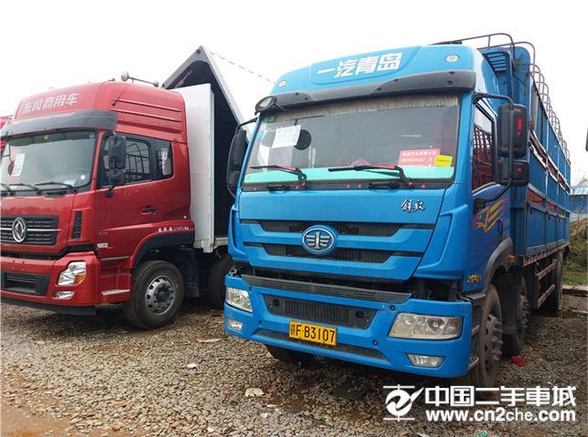 二手载货车解放青岛解放重卡280马力8X4前四后八仓栅价格14.00万